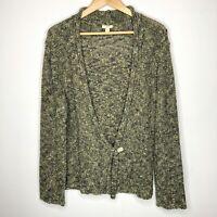 J Jill Women Long Sleeve Cardigan Sweater Knit Top Size L Olive Green