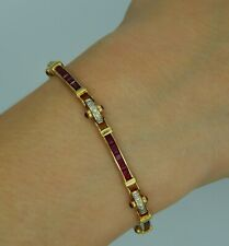 Art Deco 18k Yellow Gold Cabochon Ruby and Diamond  Bracelet