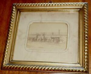 OLD FURNESS RAILWAY PHOTO STEAM TRAIN WITH RAILWAYMEN LATE 1800s CUMBRIA