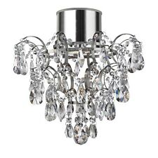 Searchlight Hanna LED Crystals Droplets and Buttons Bathroom Flush Ceiling Light