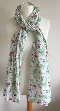 Ladies White Scarf With Multi Coloured Floral Print, One Size