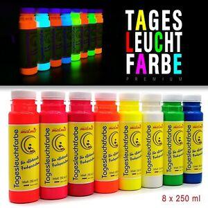 8 x 250ml Tagesleuchtfarbe NEON Schwarzlichtfarbe UV Farbe Neonfarbe