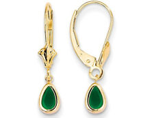 Natural Green Emerald Leverback Earrings 0.60 Carat (ctw) in 14k Yellow Gold