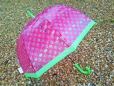 Clear Dome Umbrella Transparent - Windproof Ribs - Pink & Green Polka Dot - NEW