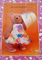 Girl Teddy Bear BIRTHDAY Greeting CARD Party Dress Unused NOS Exclamations
