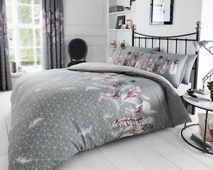 Feather Grey Duvet Cover-Pillowcase-Beding Set Single Double King Super king