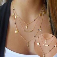 Women Charm Statement Bib Pendant Necklace Jewelry Multi-layer Chain Choker