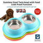 Dog Cat Double Feeding Bowls Stainless Steel Pet Bowl Water Food Dish Feeder USA