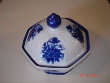"""Beautiful Saphire Blue White Floral Candy Dish Bowl 7X8"""""""