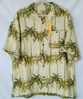 New Joe Marlin Men's Hawaiian Shirt Size 2Xl  Short Sleeve Cream Green Palm Tree