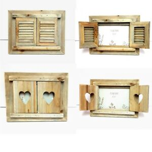 Driftwood Rustic Natural Wood Photo Frames Heart/Slated Design With Shutt