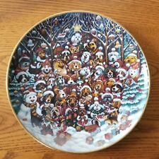"""Franklin Mint Santa Paws Christmas Plate Bill Bell 8"""" Collectors Limited Edition"""