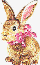 BUNNY w/PINK BOW-IRON ON EMBROIDERED PATCH - RABBIT - FOREST - ANIMALS - PETS -