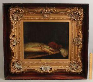 Lrg 19thC Antique ARTHUR WOELFLE Still Life Oil Painting Salmon & Flounder Fish