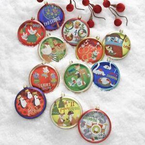 "RAZ Imports 4"" 12 Days of Christmas Glass Disc Ornaments Set/12 Twelve NEW!"