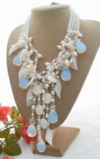 4 Strands Freshwater White Pearl Crystal Shell Jade Flower Fringe Necklace 18""