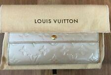 Authentic LOUIS VUITTON Long Wallet Vernis Porte Monnaie Credit Bifold Beige LV
