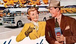 1949 Greyhound Bus Travel MCM Style Couple Time Tables Tours Autumn Art Print Ad