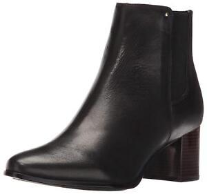 Calvin Klein Women's Felda Black Leather Fashion Ankle Booties Slip On Shoes