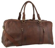 Pierre Cardin Rustic Leather Travel Business Trip Bag Overnight - Chocolate