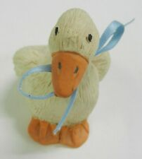 "Resin goose figurine, 3"" tall, blue ribbon on neck. Perfect for your collection."