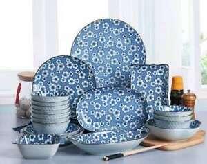 Japanese Rockery Blue Ceramic Dinner Plates Dish Bowl Serving Dining Tableware
