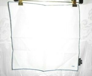 TOM FORD White & Gray French Cotton Handkerchief with Initials CW