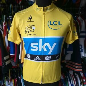 TEAM SKY 2012 YELLOW CYCLING SHIRT LE TOUR FRANCE UNOFFICIAL COPY SIZE ADULT L