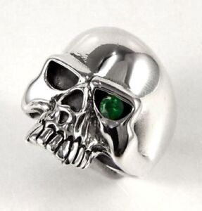 EMERALD SKULL 925 STERLING SILVER DESIGNER MENS RING NEW ROCKER GOTHIC BIKER