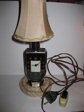 EXTREM RARE VERSION! MOFEM HUNGARIAN ART DECO BLACK DIAL DESK LAMP ALARM CLOCK
