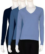 LADIES WOMANS JUMPER V NECK PULLOVER KNITTED LIGHT WHIGHT NEW S M L NAVY BLUE