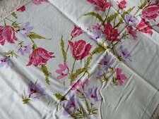 Vintage Simtex Tablecloth UNUSED Pink & Lavender Flowers + 4 Napkins