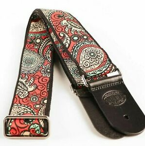 "Gaucho Guitar Strap Black/Beige/Red 2"" Wide Paisley Design Jacquard Weave"