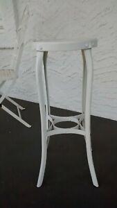 Vintage Drafting Industrial Steel Toledo Style Stool White Distressed Bar Height