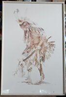 "David Ramos Signed Art Print ""Feather Dancer"" Native American Dancer Vintage"