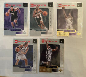5 Upper Deck Lego Sports Basketball Cards Tony Parker, Vince Carter, and 3 more