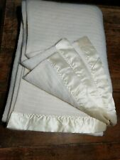 "VTG THERMAL WAFFLE WEAVE BLANKET  Cream Colored 2 1/4"" Binding  64 x 90 Twin EUC"