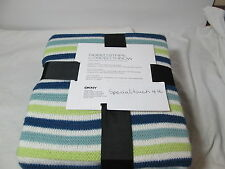New DKNY Ribbed Stripe Corded Throw JETE 50x60 Navy Blue Green & White New
