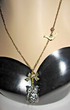 BETSEY JOHNSON SILVERTONE OWL WITH BIRD AND BOW NECKLACE