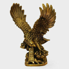 Chinese Old Brass Copper spread the wings Hawk Eagle Bird Figures Statue