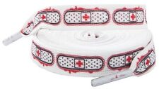 """66019 Sourpuss 72"""" Long White Red Bandage Ouch Boot Roller Skate Derby Shoelaces"""