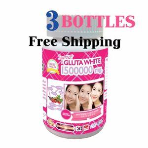 3 Bottles White Gluta Supreme 1500000 Mg V Shape Face Whitening Anti Aging