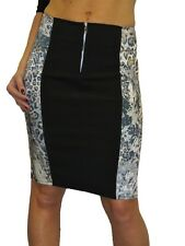 ICE (2393) Ladies Stretch Satin Pencil Skirt Animal Print  Black Contrast 6-18