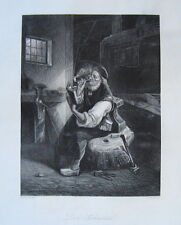 Der Schmied Amboß Hammer Hufeisen Pfeife echter alter  Stahlstich 1850