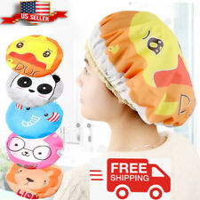 Women Shower Cap Waterproof Elastic Bath Hat Cleaning Hat Cute Kid Adult