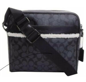NWT Coach Charles Camera Crossbody Messenger Bag in Shear F35612 Charcoal Black