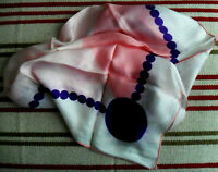 Vintage Silk Square SCARF, Pink, White + Purple Dots & Round Shapes, Rolled Hem