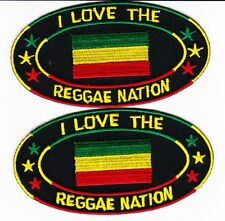 2 EMBROIDERED 2Wx4L REGGAE NATION SEW/IRON ON PATCH FLAG AFRICA BOB MARLEY RASTA