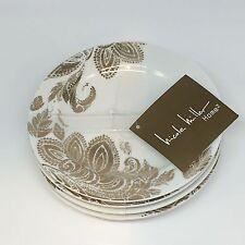 4 Nicole Miller Metallic Gold Paisley Floral Appetizer Dessert Plates Set NEW