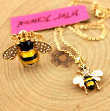 lovely bee golden Chain Necklace ring Enamel Betsy Johnson Charm Jewelry Pendant